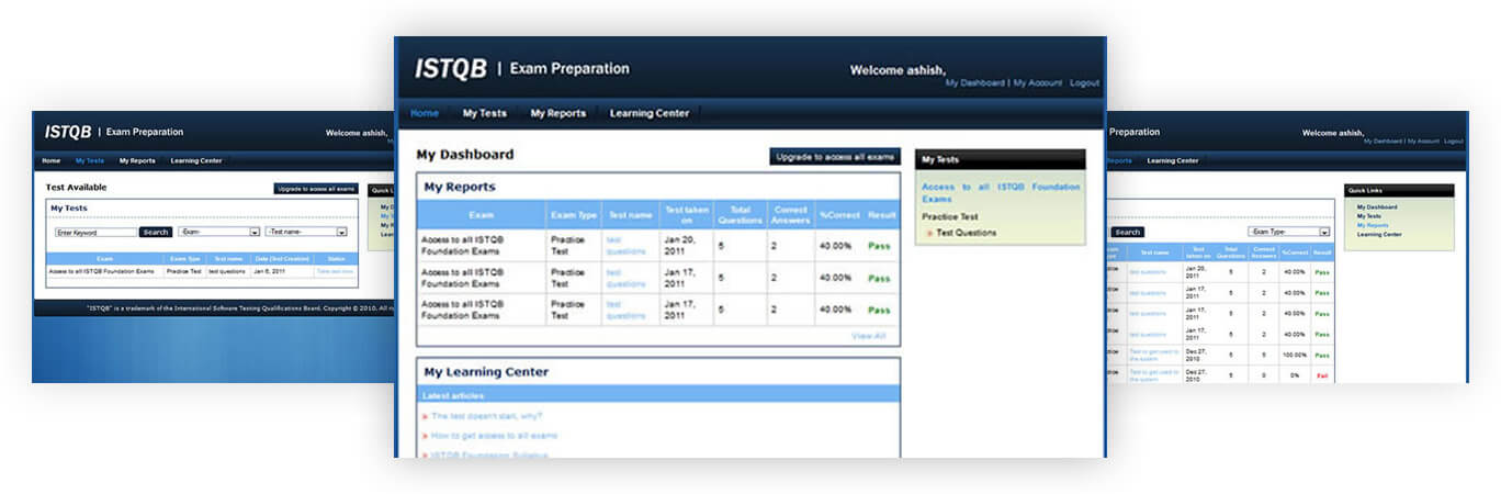 ISTQB Exam Preparation Dashboard