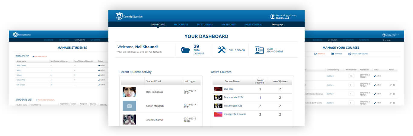 Kennedy Education: Dashboard, Manage Courses & Students