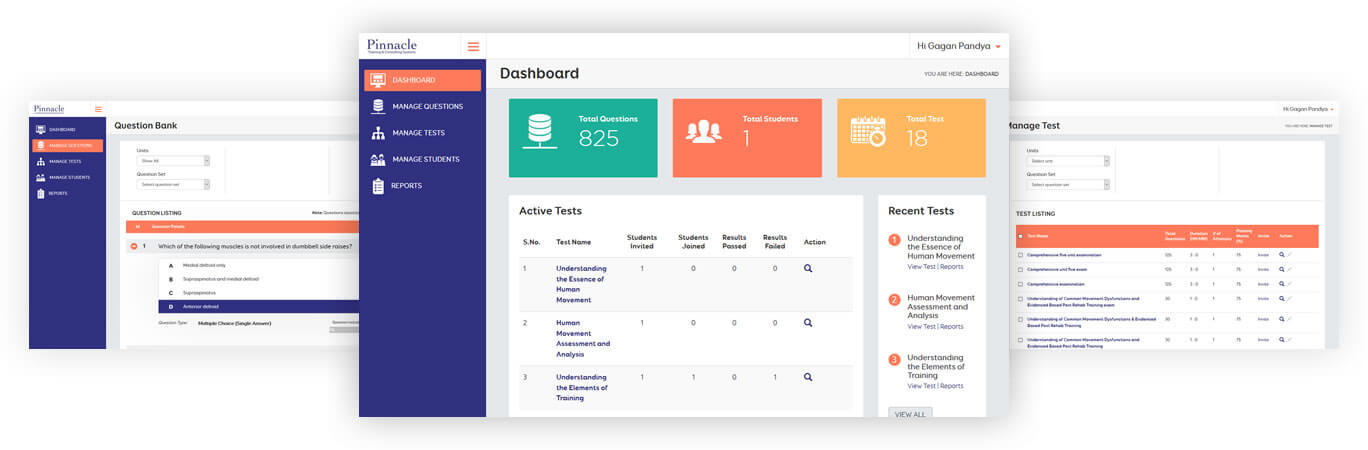 Pinnacle dashboard, tests and question bank