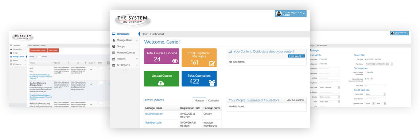 The System University Dashboard & Profile