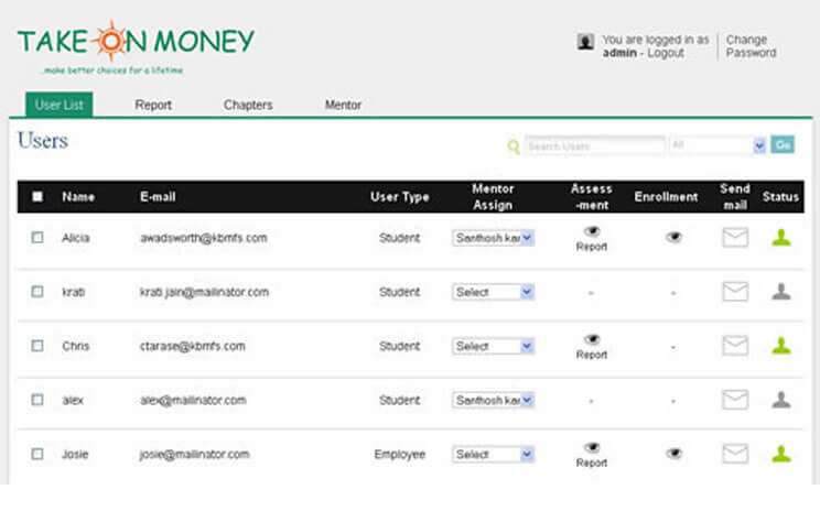 Take On Money Admin Dashboard